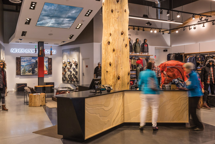 Local links are strong in The North Face's stores designed by Green Room. From the contours on the signage that reflect local geography to the locally sourced timber and chalk boards giving regional information, everything conveys a sense of place