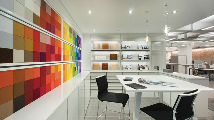 The lower-ground floor accommodates a colourful materials samples area