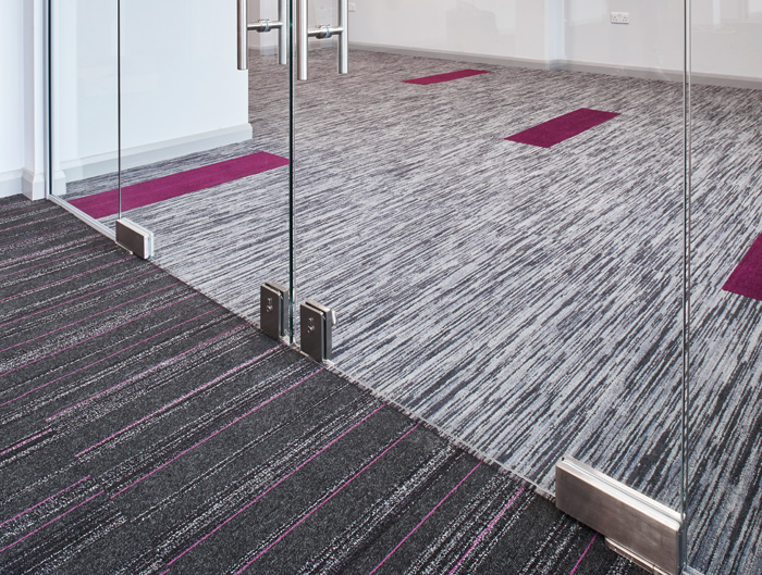 Modulyss carpet tiles were specified by building consultancy Woodfellows for the Kingsley Healthcare offices in Lowestoft. The Pure Air100 tiles reduce dust in the atmosphere for a healthier environment and are made from 100 per cent Econyl recycled polyamide.