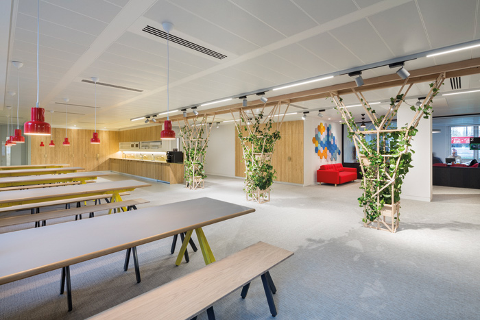Cundall Engineering's new offices in the city of London. the practice were unable to source suitable products so it 'invented' new products in-house, turning the office into a 'living lab to test new materials and find out how they behave in controlled circumstances.