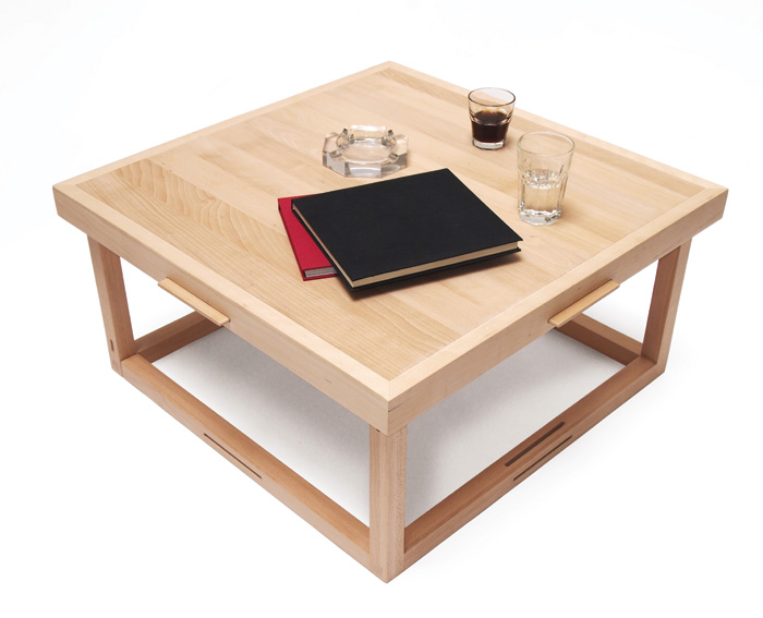 ADAPTable – A flexible table that can be configured as a four-seater dining table or coffee table. Designed specifically for limited-spaced homes where there is no clear definition between a living and dining room. The legs of the piece can detach and be inserted into the tabletop to offer two height options.