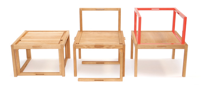 "1+1+1 – A three-piece furniture system that can be configured as a coffee table or stool, chair and armchair. 'The simple and clean lines of the Ming chair were the inspiration of ""1+1+1"",' says Hao. It features a simple latch system for ease of configuration. 'The backrest and armrest modules are identical and can be stored underneath the coffee table or stool,' he says."