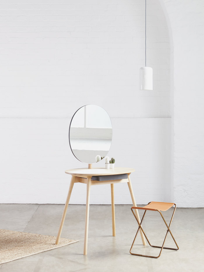 Perch is Kurrein's ­first self-produced piece of furniture. A make-up table with a large, seamless feature mirror, the design allows it to sit discreetly and comfortably 'in even the most awkward spaces'