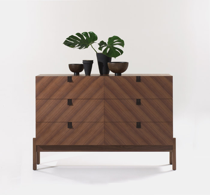 Aponi is Kurrein's first range designed for Joined+Jointed, launched at LDF 2015. Comprising drawers, bedside table and foldaway desk, its 'primitive' form and hand-crafted elements are inspired Kurrein's travels to South America