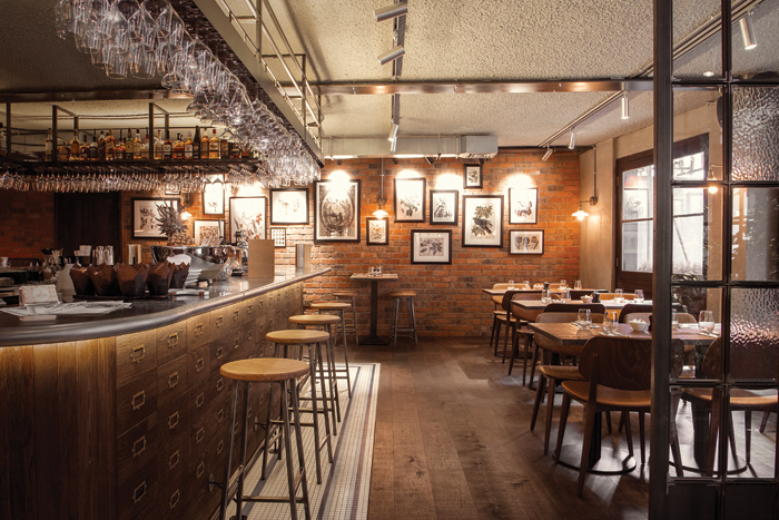 Views of the Canto Corvino Italian restaurant and bar in Spitalfields, London, with interiors and branding by B3 Designers