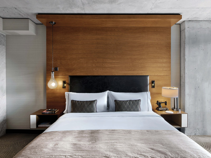 Guest rooms are kept fuss-free to make the most of the small footprint