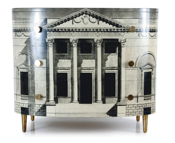 Piero Fornasetti Palladiana chest of drawers, 1952, exhibited at TEFAF 2016 by Austrian dealer Thomas Salis Art & Design