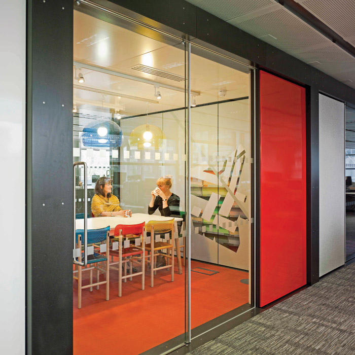 The meeting room 'pods' were designed to be flexible, with a variety of finishes and graphics that brought the Channel 4 brand to life