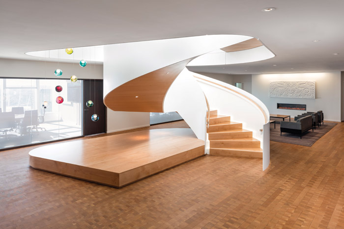 A large Bocci light/ art sculpture was designed for over the feature spiral staircase in the building's executive reception area . Photography - Andrew Latreille