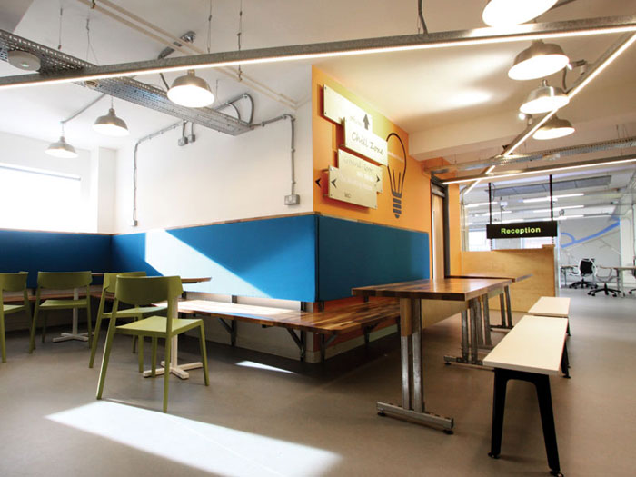 Aiming to attract start-ups, the design by Squaredot features a 'simple, honest use of materials' and a stripped-down, contemporary look. Exposed ceiling trunking is part of the look and feel of the place