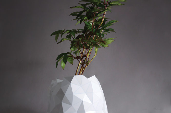An expanding origami pot, from the project Growth (2016), by Studio Ayaskan. Photo Credit: Studio Ayaskan