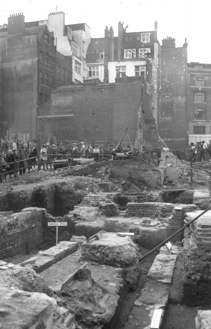 In 1954 the public queued to get a glimpse of what the archeological dig was revealing. Photo Credit: Mola