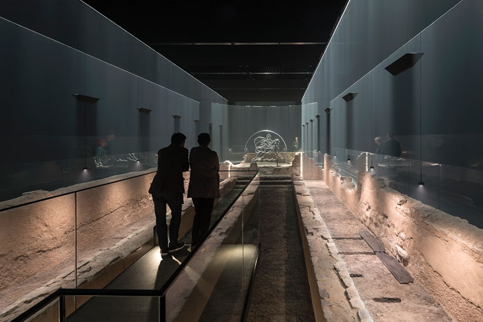 The Temple of Mithras is recreated with light, sound and authentic materials — amid the ruins themselves.