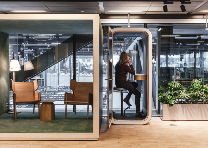 With interiors from Danielsen Spaceplanning, the BloxHub workspaces accommodate a range of built environment startups and organizations. Credit: Rasmus Hjortshoj