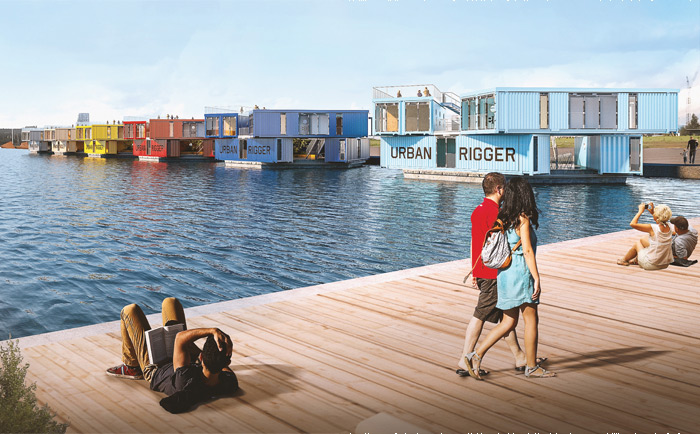 The Urban Rigger project, which has piloted in Copenhagen, envisages whole communities of container-based floating housing