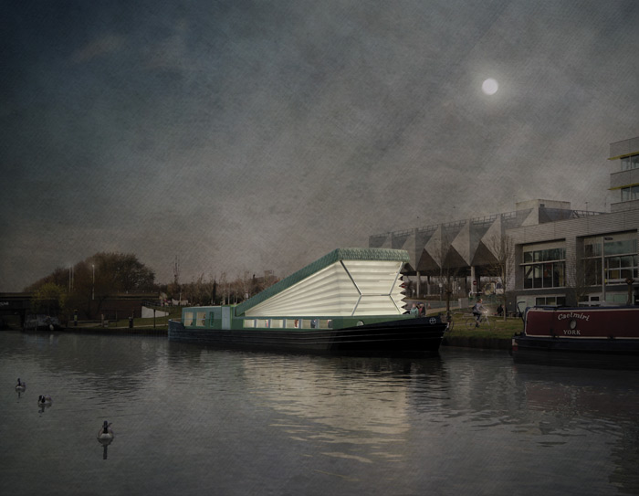 Denizen Works has given a traditional canal boat a pop-up roof in designs for the Floating Church, planned for London's canal network. Image Credit: Denizen works