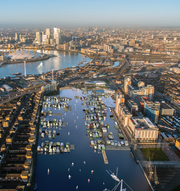 dRMM's Waterhood proposal for London's Royal Victoria Docks is a community of floating homes, offices and cultural spaces