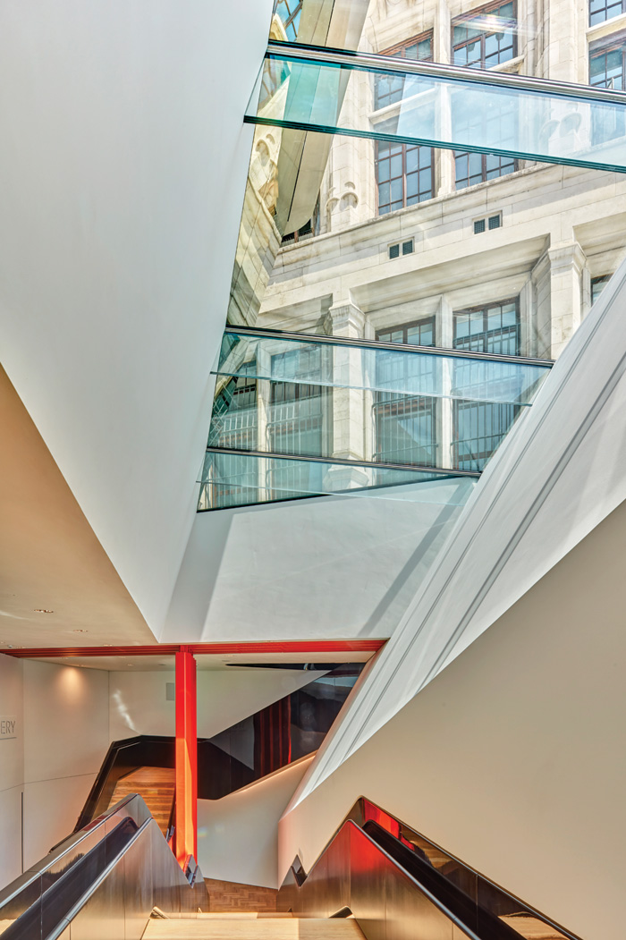 A skylight in the new above-ground volume above the stairs to the Sainsbury Gallery below