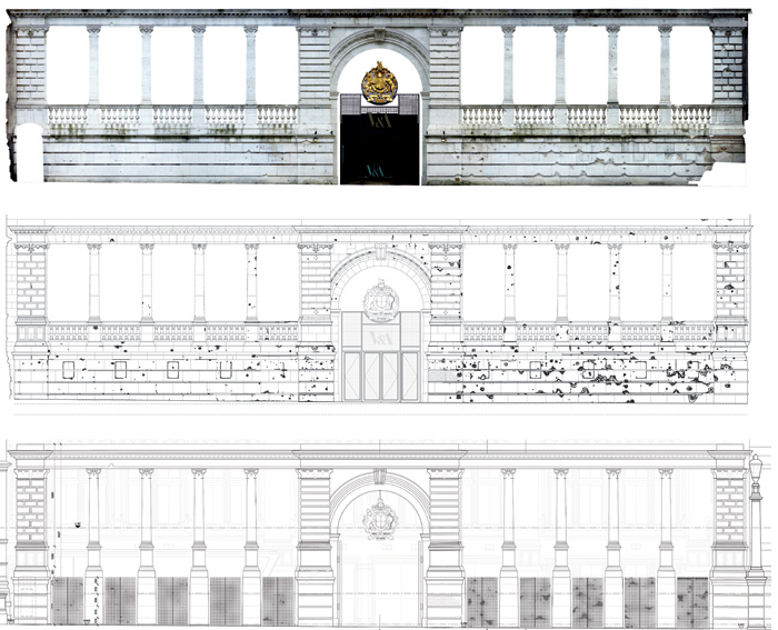 The Aston Webb screen (top) photographed as it was, with balustrade, wall and shrapnel damage; (middle) survey drawing as it was; (bottom) drawing with replacement gates