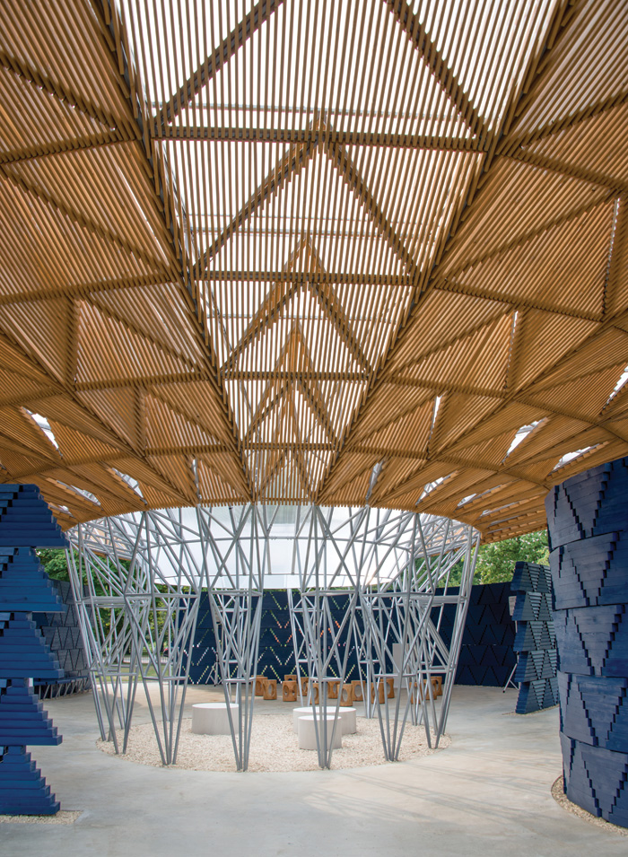 The pavilion is designed to connect with the nature of the parkland, with perforations and views through the structure