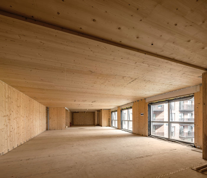 Inside Dalston Works, Waugh Thistleton's first major timber-build statement since the CLT Murray Grove in 2009