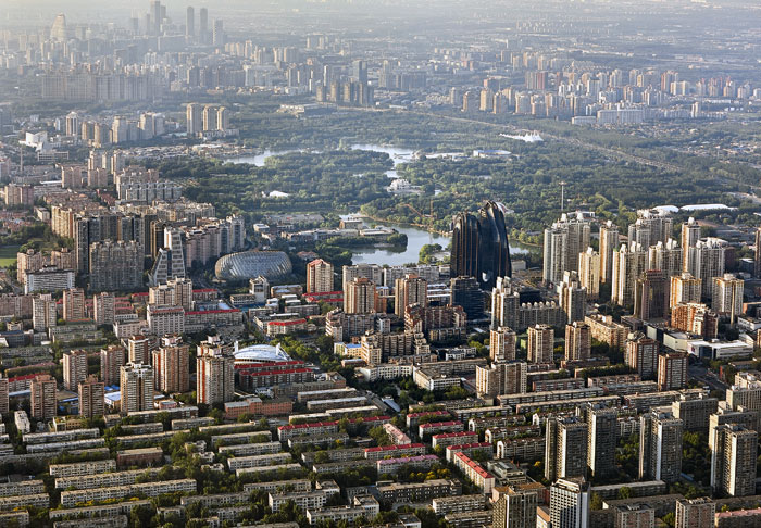 The two main towers of Chaoyang Park Plaza in their urban context. Image Credit: Hufton+Crow