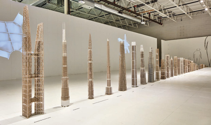 SOM's exhibition features 1:500 skyscraper models. They include many unbuilt designs, including (from left) Liansheng Financial Tower, Taiyuan; 7 South Dearborn, Chicago and Lotte Super Tower, Seoul