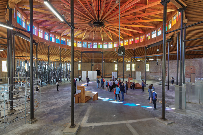 At the DuSable Museum of African- American History, a restored 136-year-old Roundhouse hosted the Palais de Tokyo show Singing Stones