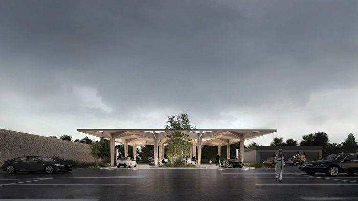 COBE is reimagining the petrol station of the future as a greener, calmer, friendlier alternative for electric vheicles. Image Credit: Rasmus Hjortshõj