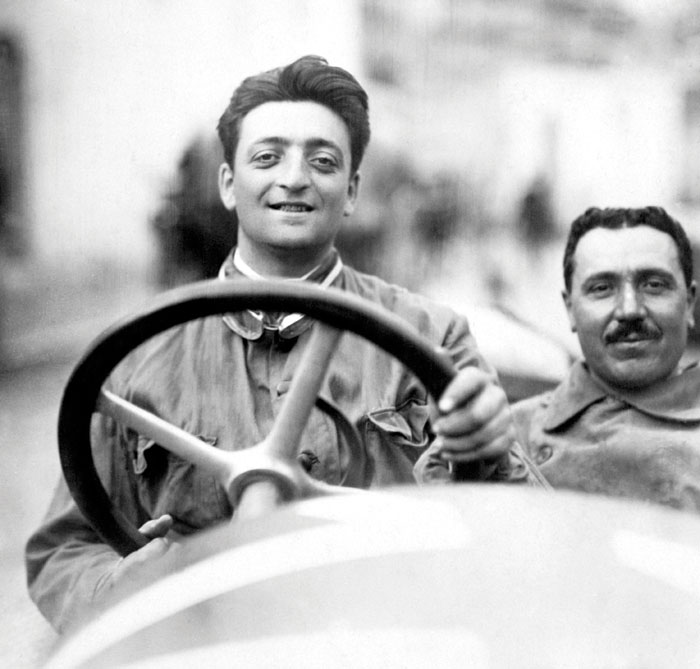 Enzo Ferrari at the 1920 Targa Florio in an Alfa Romeo 40-60 HP Racing Type. He raced for Alfa before setting up his own marque
