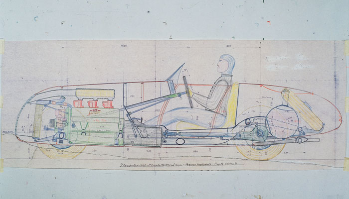 The technical drawing for the first Ferrari, the 125 S