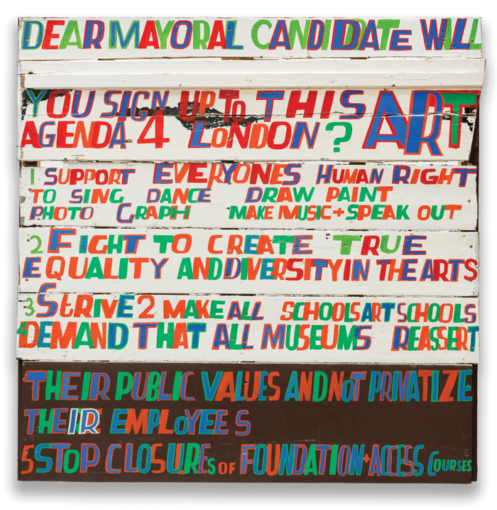 Dear Mayoral Candidate (2015), created ahead of the London mayoral election in 2016. Photo Credit: William Morris Gallery
