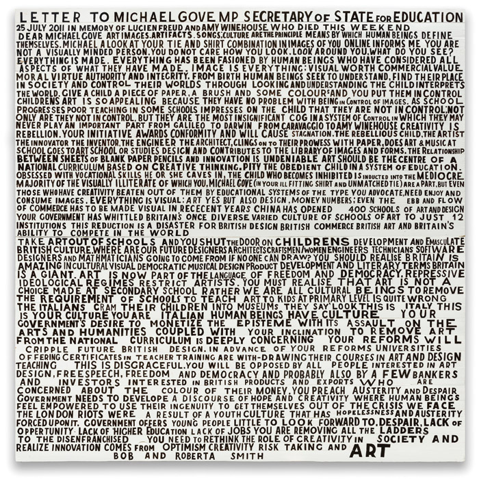 Text-artwork Letter to Michael Gove (2015). Gove was Secretary of State for Education from 2010 to 2014. Photo Credit: William Morris Gallery
