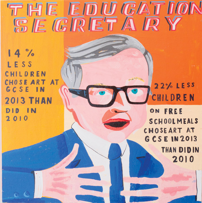 The Education Secretary (2015) from the Art Is Your Human Right show, at the William Morris Gallery. Photo Credit: Nicola Tree