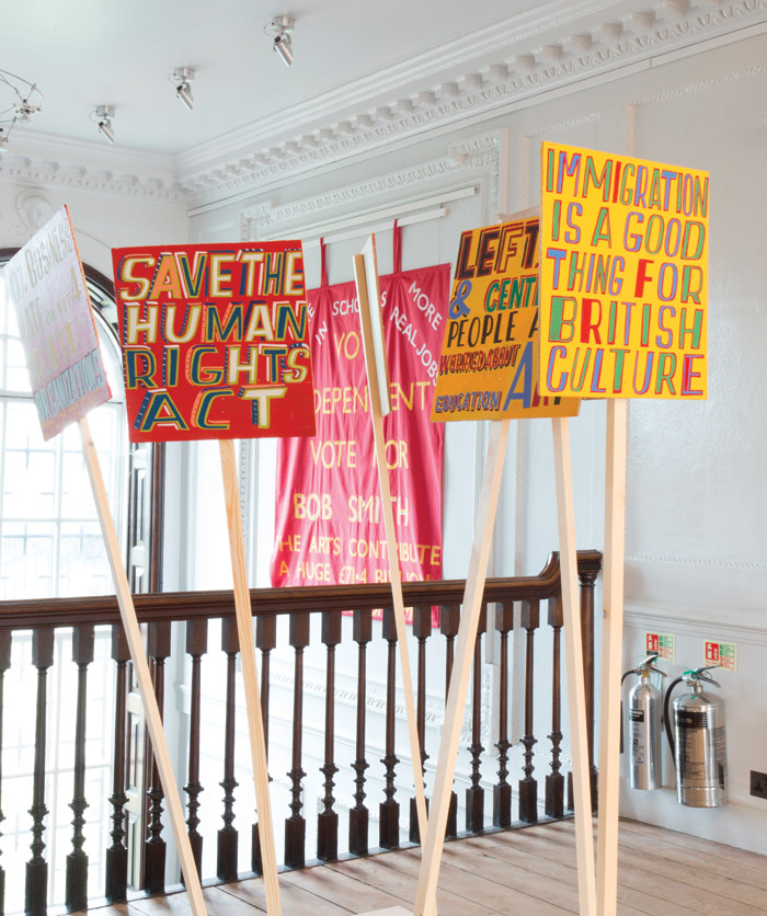 Views from the Art is your Human Right show by Bob and Roberta Smith at the William Morris Gallery. Photo Credit: Nicola Tree