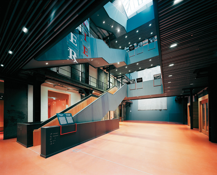 The four-story entry shared by the Barenboim-Said Academy and the Pierre Boulez Saal, designed by HG Merz, which designed the interior of the Academy itself and restored the shell of the building