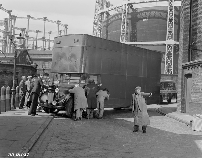 Action plays out in the shadow of the gas holders in 1955 film The Ladykillers. Image Credit: 1955 Studiocanal Films Ltd Hr