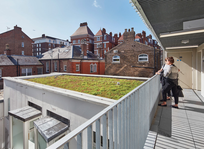 A plant room in the original scheme morphed into a studio flat with a green roof when it was no longer needed