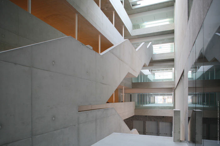 Inside, the concrete stair hall expresses Grafton Architects' intention to make the interior feel like an open marketplace for ideas and exchange. Image Credit: Federico Brunette
