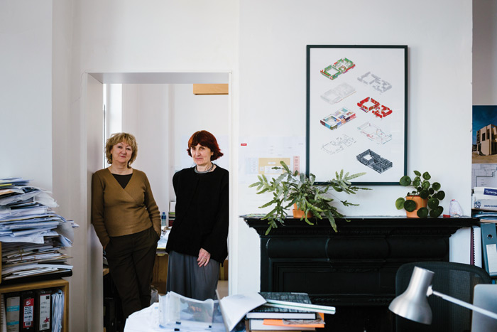 Farrell (left) and McNamara in the Dublin offices they had to decamp to, on College Green, in order to give the Biennale team enough space in their old Grafton Street space. Image Credit: Jess Lowe