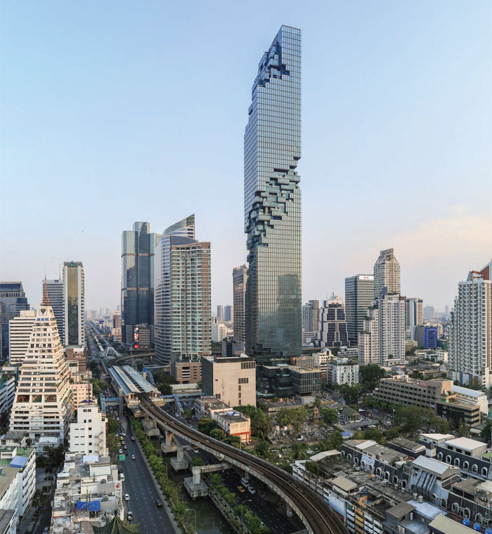 MahaNakhon in Bangkok dissolves in a pixelated spiral to give the impression of what Scheeren describes as an 'unfinished skyscraper. Photo Credit: Pace