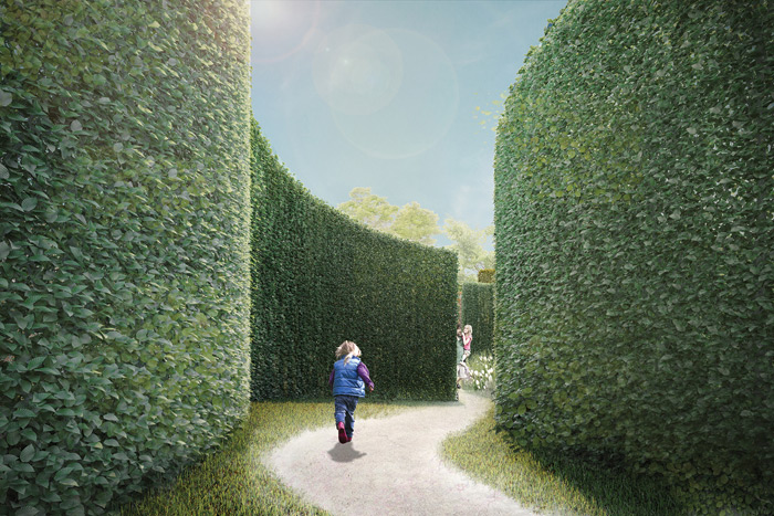 Green hedges create ambiguous, mysterious spaces for the visitor