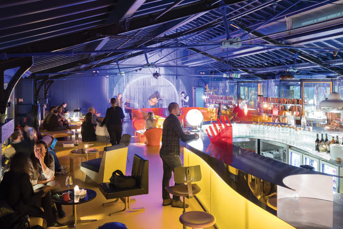 The vibrant cafe and bar is used to host films, live-music events and talks from entrepreneurs