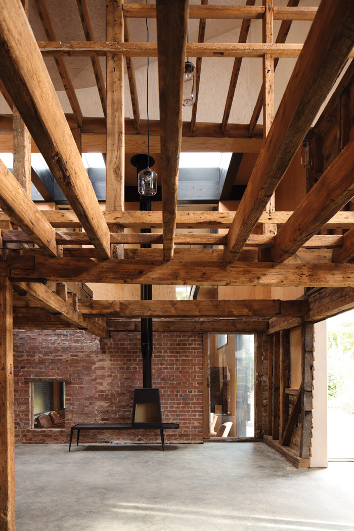 Original beams and joists inside the granary. Image Credit: Brotherton Lock