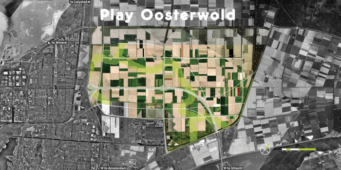The Play Oosterwold game presented a map of the site with blocks representing various building possibilities for people to create their own agenda for the community