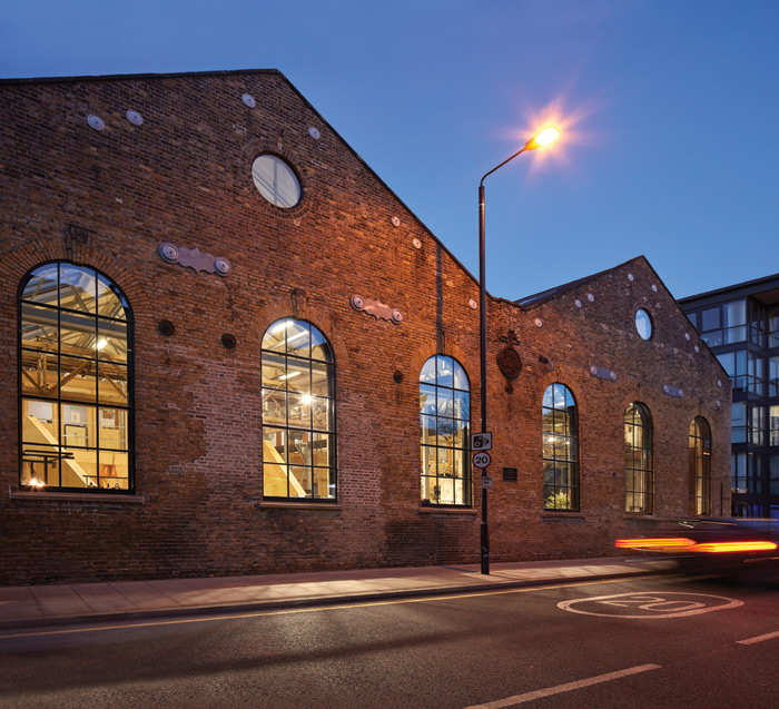 The Grade II-listed former metalworks is located in Millwall, at the southern tip of the Isle of Dogs. Image Credit: Emrys Architects / Alan Williams