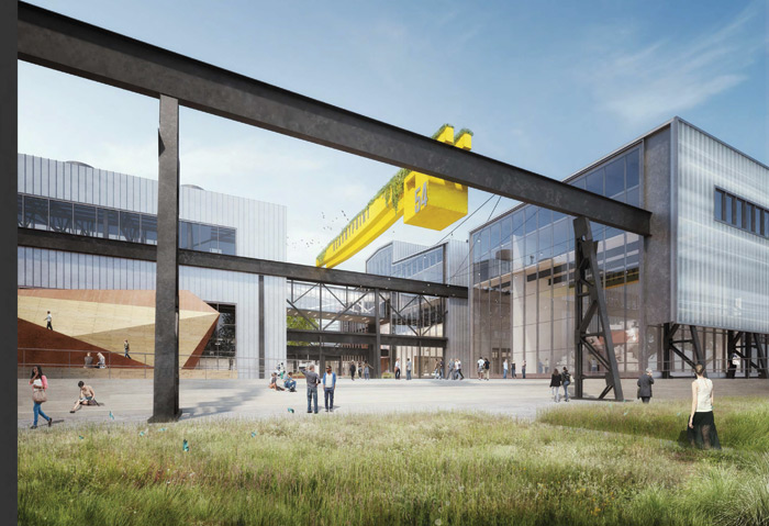 The rest of Kearny Point's former shipyards will be transformed by WXY and Studios Architecture, retaining the industrial structures while providing more creative workspace. Image Credit: WXY Architecture + Design and Studios Architecture