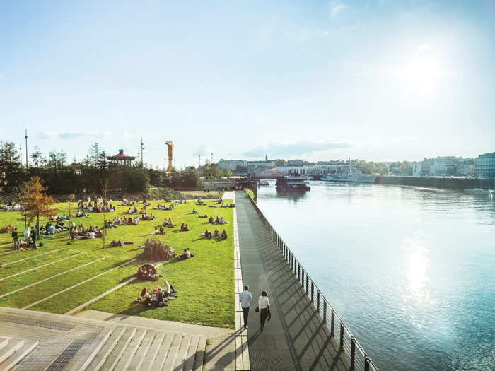 The Île de Nantes, once a thriving industrial hub, looks across to the old historic centre of the city and has become a testing ground for installations and pop-ups. Photo Credit: Le Voyage A Nantes