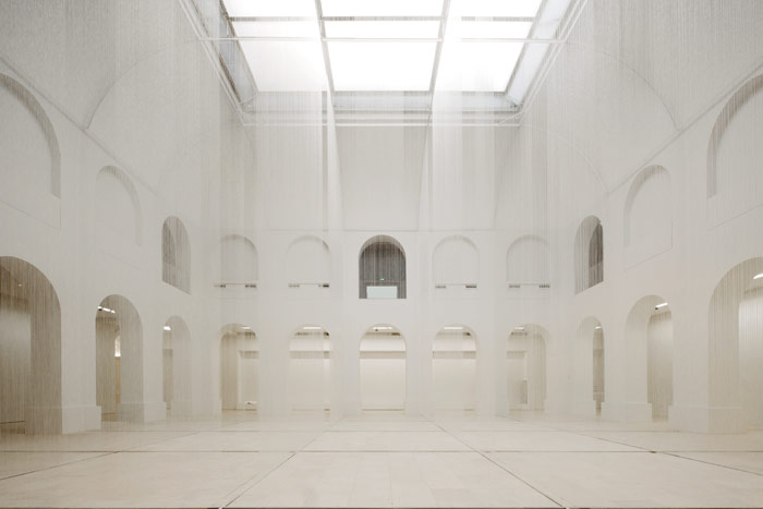 The central Patio of the Palais will host contemporary art installations. For the opening Susanna Fritscher's Nothing but Air, Light and Time fills the space with fine threads. Photo Credit: Stefano Graziani