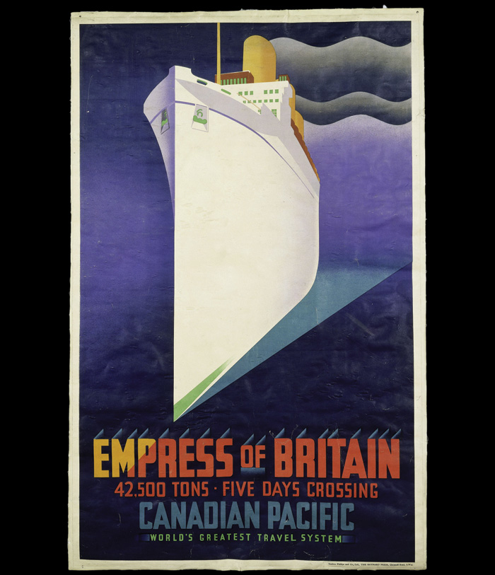 Empress of Britain colour lithograph poster for Canadian Pacific Railways. JR Tooby (1920). Image Credit: Victoria and Albert Museum London
